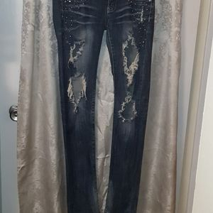 Distressed Machine Jeans